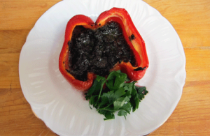 My friend Jan's recipe for baked and stuffed sweet red peppers.