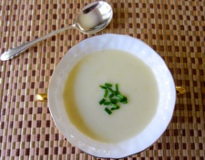 Vichyssoise: my version of the classic, a chilled potato-leek soup in a chicken stock base.