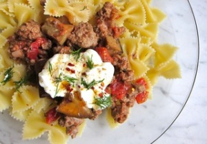 "lamb and eggplant with pasta and yogurt sauce: a recipe from Melissa Clark, who writes ""The Good Appetite"" column in the New York Times."