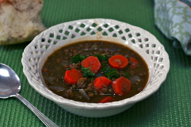Lentil soup and the Leibster blog award: This vegetarian homemade soup recipe is one that I make again and again.